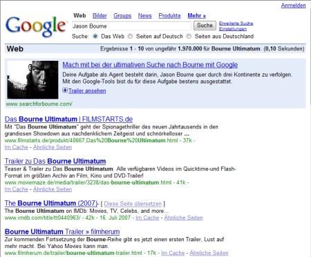 Bourne Ultimatum Suche auf Google.de