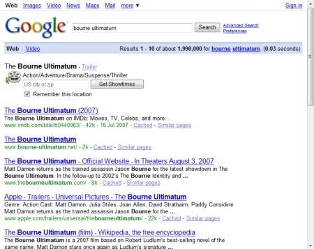 Bourne Ultimatum - Suche auf Google.com bringt den Hinweis YouTube Video mit dem Kinotrailer von The Bourne Ultimatum