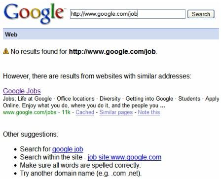 Google Ergebnissseite bei Eingabe einer falschen Webadresse