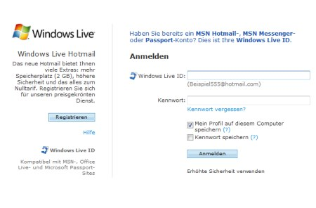 Windows Live Hotmail - Anmeldeseite