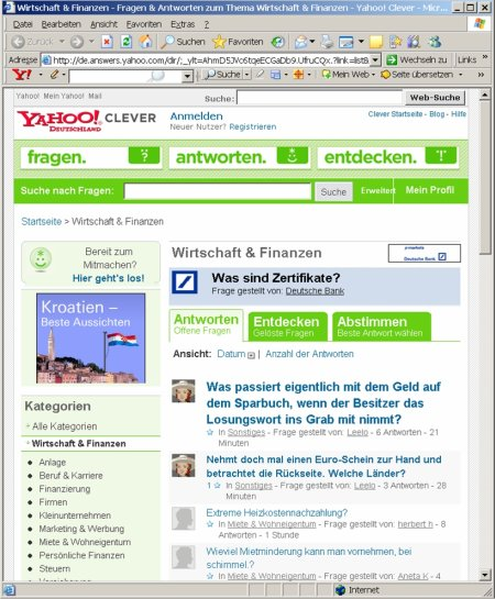 Finanzen und Wirtschaft - Yahoo! Clever Deutsche Bank X-markets Sponsoring
