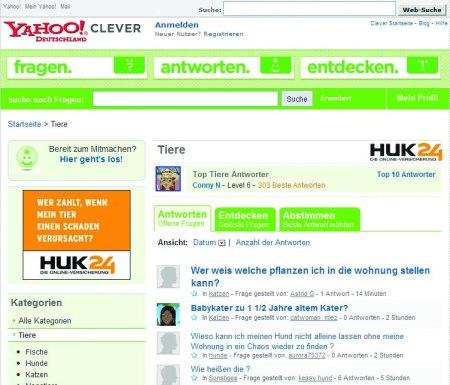 HUK24 als Yahoo Clever Sponsor für die Yahoo Clever Rubrik Tiere
