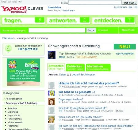 Procter & Gamble als Yahoo Clever Sponsor für die Yahoo! Clever Rubrik Schwangerschaft & Erziehung