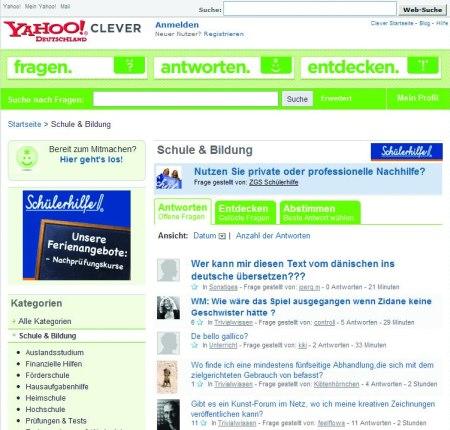 ZGS Schülerhilfe als Yahoo Clever Sponsor für die Yahoo! Clever Rubrik Schule & Bildung