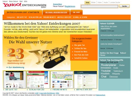 Yahoo Entdeckungen 2007 - Publikums Award