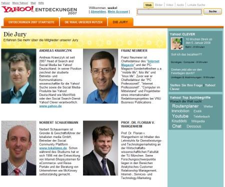Yahoo Entdeckungen 2007 - Die Jury