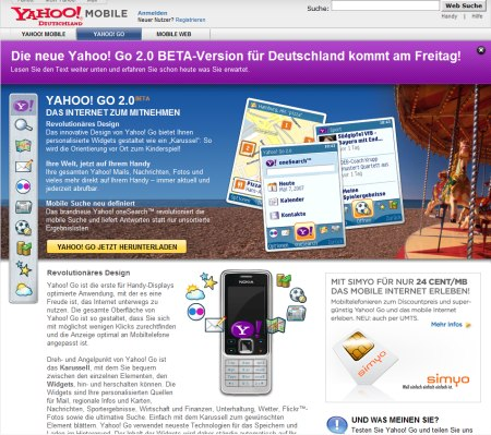 Yahoo Go Mobile 2.0 Deutsch