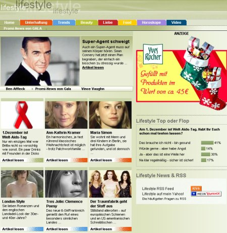 Yahoo! Life mit Inhalten von Gala