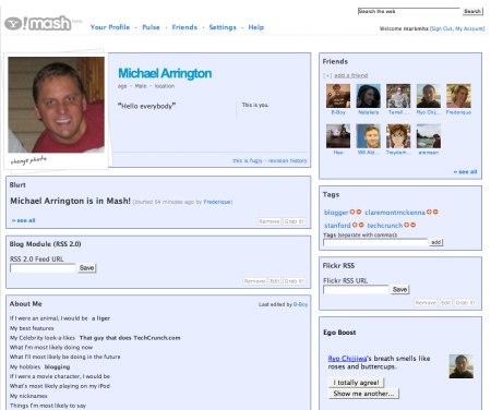 Yahoo Mash - Profilseite in Yahoo! Mash