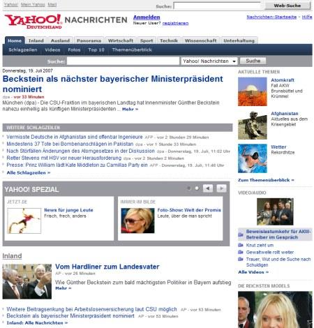 Yahoo Nachrichten - Yahoo! Nachrichten Seite ab Sofort mit Web 2.0 Features
