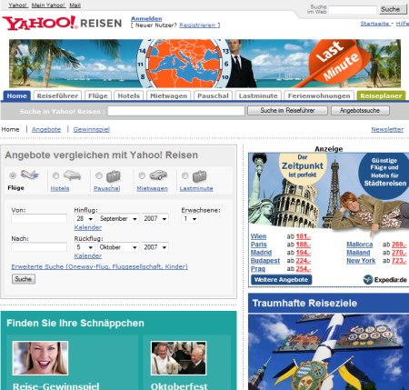 Yahoo Reiseplaner