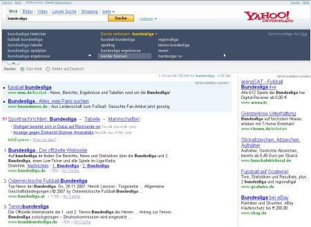 Yahoo! Suche nach Bundesliga