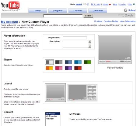 Youtube Player - Costum Player Einstellungsübersicht