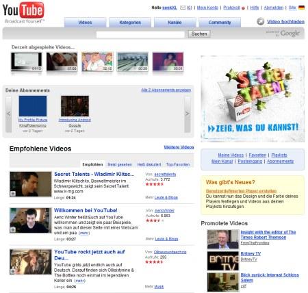 Youtube Deutschland - lokalisierte Youtube Version für Germany