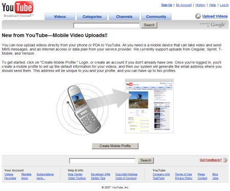 Youtube Mobil Video Upload